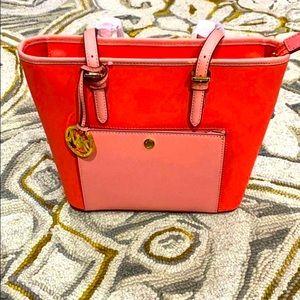 💕Michael Kors peach leather jet set tote NWT $198